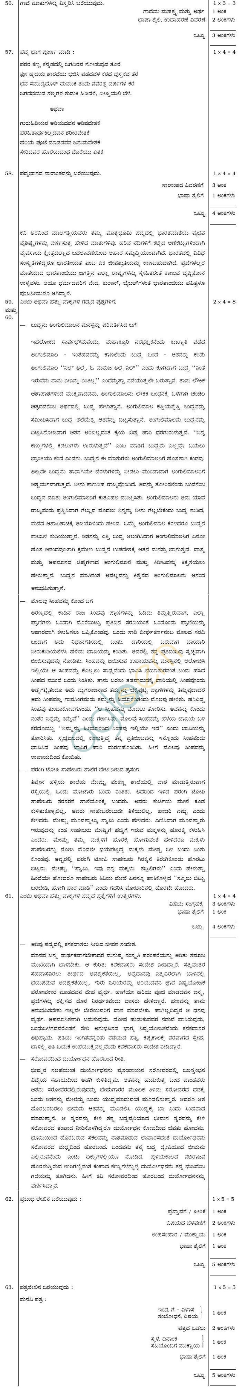 Karnataka SSLC Solved Question Paper of Kannada 2018, 2017