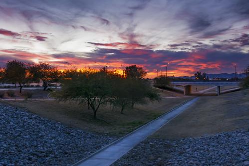 bridge blue trees sunset red arizona orange brown green grass canal rocks glendale gray overpass trail redsunset orangesunset jimhankey afsnikkor18200mmdxvr nikond7100