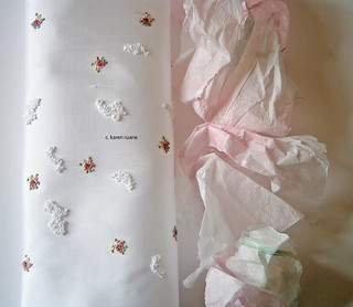 embroidered silk and colour washed tissue