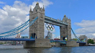 Tower Bridge during the 2012 Olympics, London, July 2012