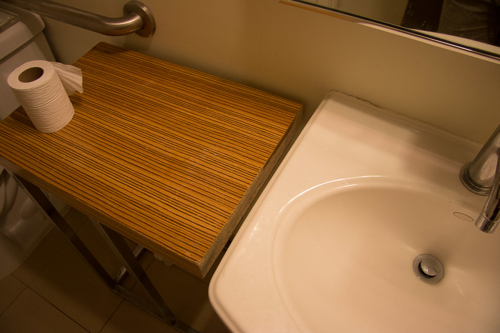 Strange side table in Casa Marina hotel room bathroom