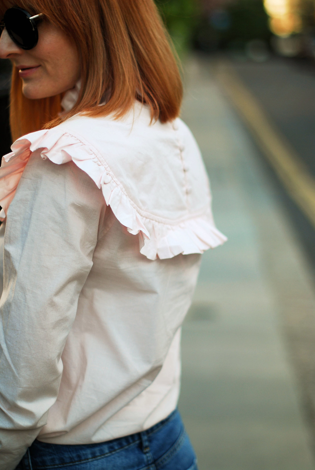 SS16 Style: M&S Archive by Alexa ruffled Harry blouse, distressed boyfriend jeans | Not Dressed As Lamb