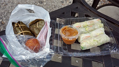 Kowthom Kauew, Kow Neal Ping, Sesame Balls and Summer Rolls at Sunday Market - Wat Mongkolratanaram Buddghist Temple, Tampa, FL