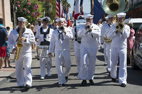 Mon, 08/15/2016 - 11:40 - 160815-N-KP948-141 THEOULE-SUR-MER, France (August 15, 2016) - The U.S. Naval Forces Europe Band marches through the city of Theoule-sur-Mer during a parade of U.S. and French officials and service members August 15, 2016. The parade is part of a series of events that the U.S. Navy is participating in alongside French civilian and military officials to commemorate the 72nd Anniversary of Operation Dragoon. (U.S. Navy Photo by Mass Communication Specialist Seaman Alyssa Weeks/Released)