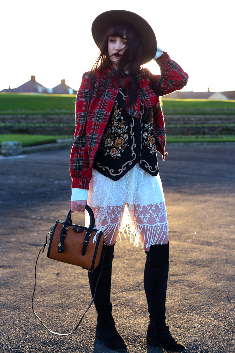 xmasjumperstylechallenge, beyond retro, christmas vintage waistcoat, knee high boots