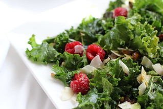 Lime Massaged Kale with Avocado, Coconut & Raspberry