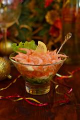 Olivier salad with shrimps