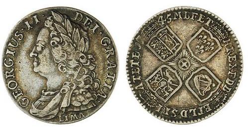 1745 silver shilling