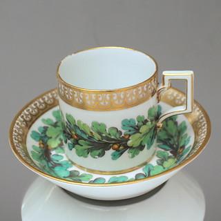 KPM Berlin: Tasse, zylindrisch, 1895, Eichenlaub, Kaffeetasse, Klassizismus