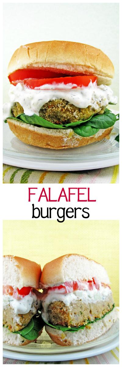 Falafel Burgers with Feta Tzatziki Sauce