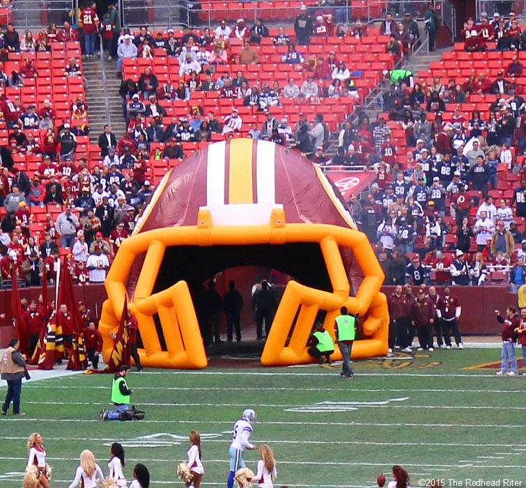 13 washington redskins big blowup helmet around entrance to field