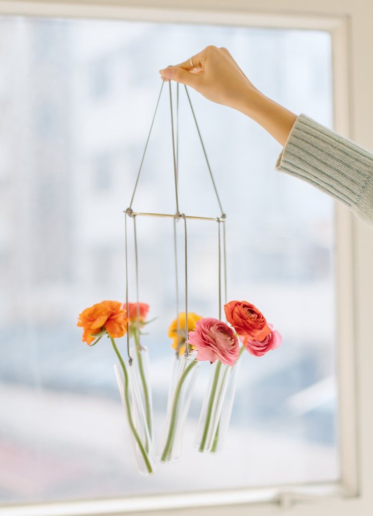 DIY Test Tube Vase Floral Chandlier
