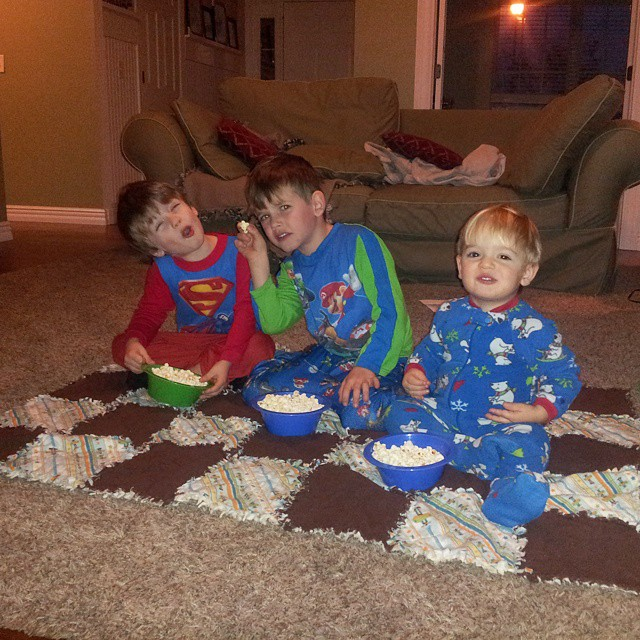 Plans changed when the snow fell. Family movie night instead. #mboys2015