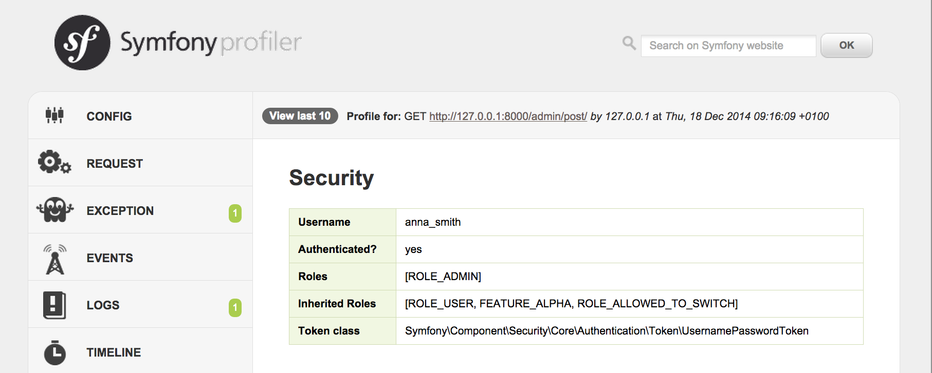 Symfony 2.7 Hierarchical Security Roles