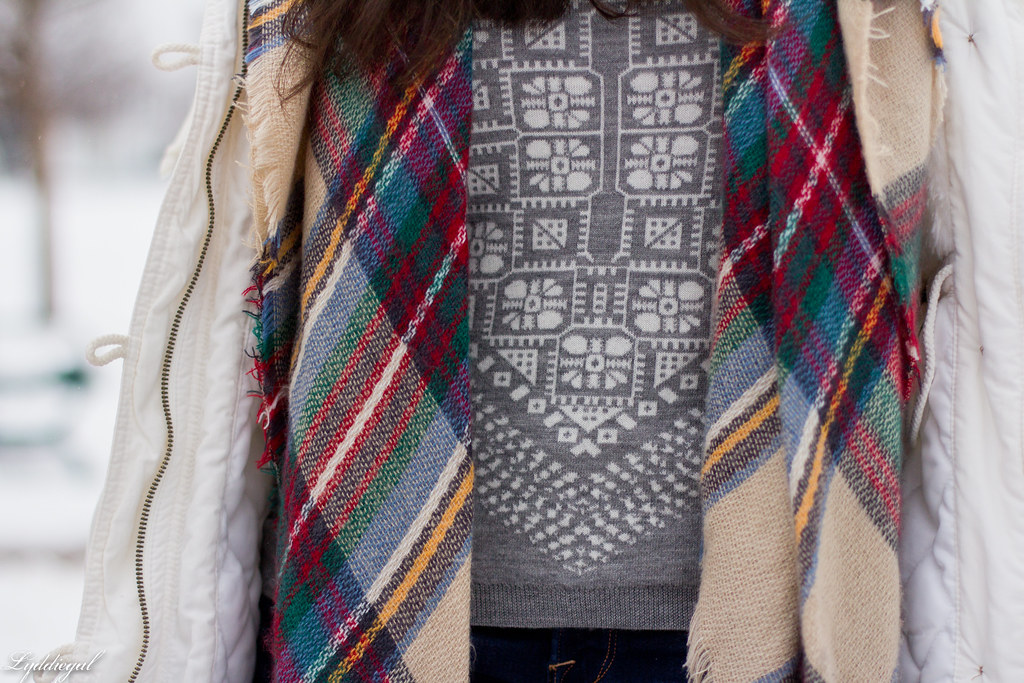 scarf print sweater, white parka, plaid scarf-5.jpg