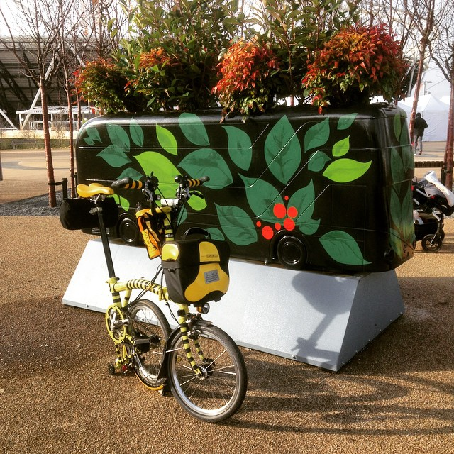 A new bus on the #YOTBTrail #YearoftheBus #urban #bromptonlife #QEOPTrail