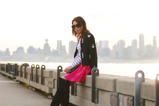 HRH Collection monochrome crystal bomber, Partyskirts wild strawberry, Chinese Laundry over-the-knee boots, striped top, Prada sunglasses, Vancouver, fashion, style, blogger