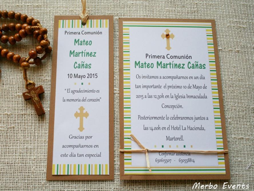 Conjunto invitaciones y punto de libro comunión niño Modelo Ra Merbo Events