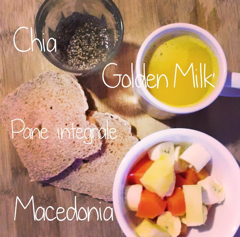 Colazione salutista chia golden milk pane integrale macedonia