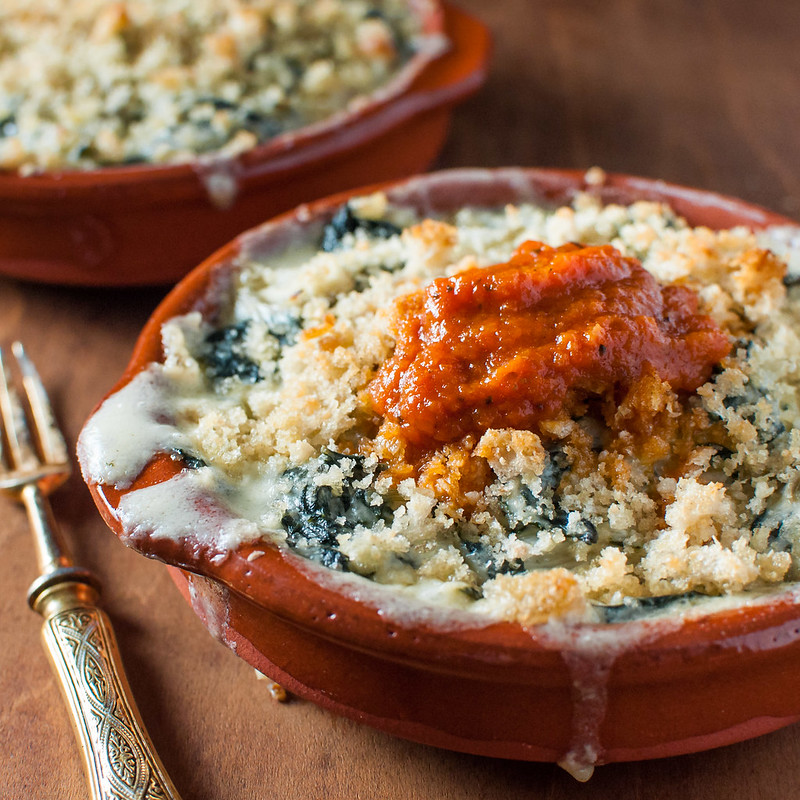 Swiss chard gratins and make-ahead roasted red pepper sauce