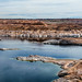 panoramic view of Lake Powell at the Glen Canyon Dam