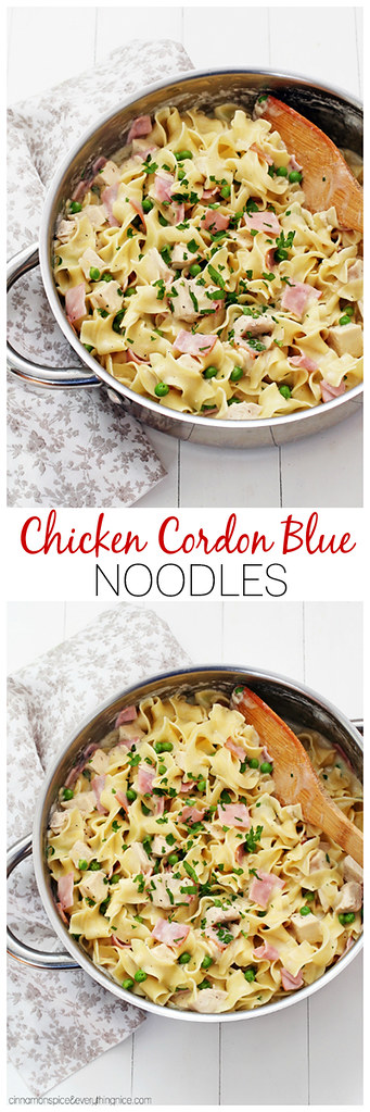Skillet Chicken Cordon Blue Noodles - the best kind of comfort food - creamy, delicious and moreish! cinnamonspiceandeverythingnice.com
