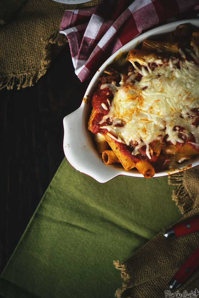 Three Cheese Sausage Rigatoni Bake | GirlCarnivore.com