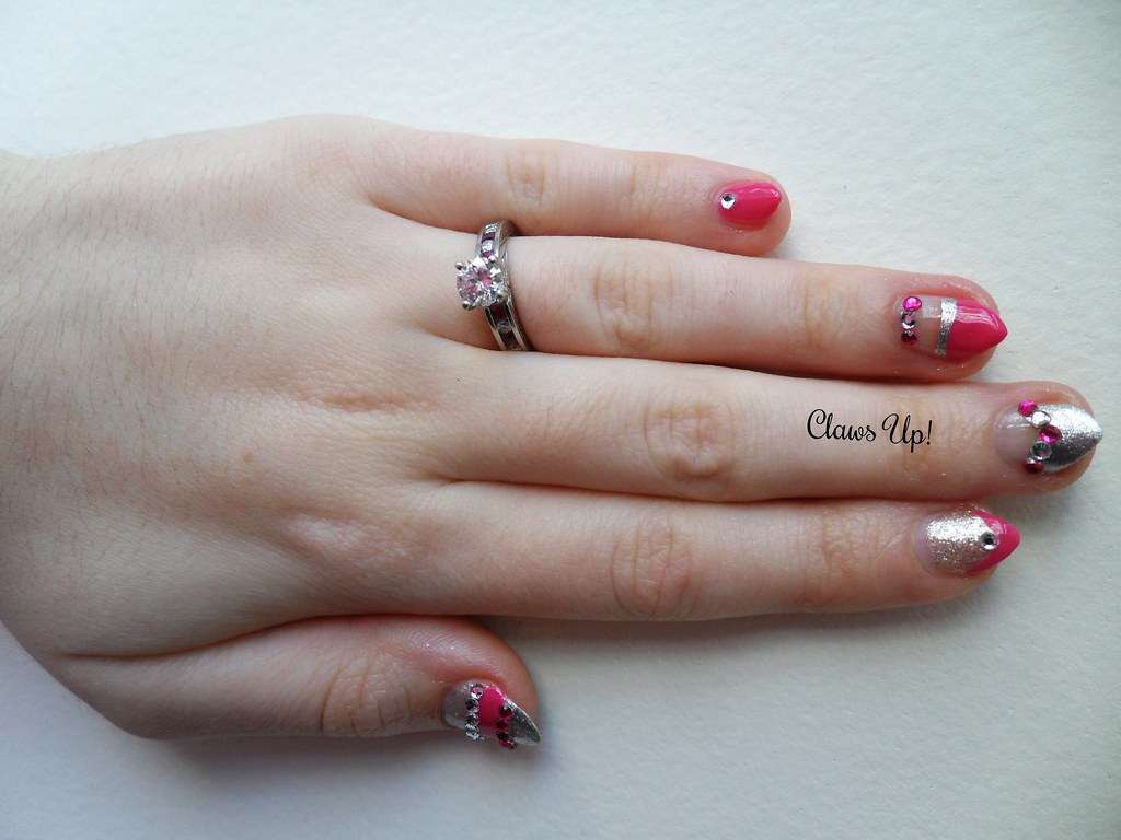 Pink and silver engagement ring nail art