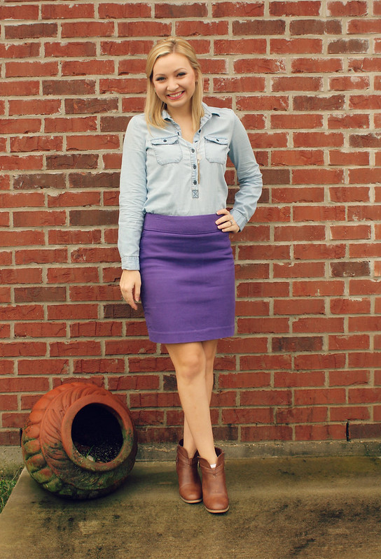 purple skirt + chambray