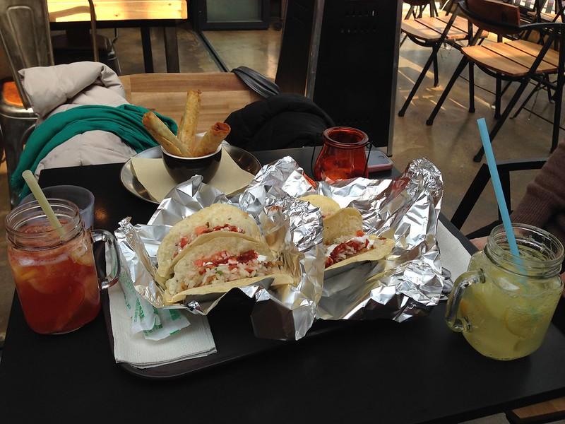 We got chicken and pork tacos. So good!