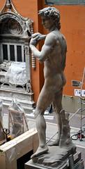 Michelangelo Buonarotti (1475-1564) - David (19th century plaster cast) above back left, Victoria & Albert Museum, London, summer 2012