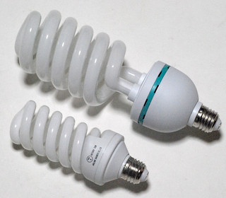 Size comparison of the spiral fluorescent lamp