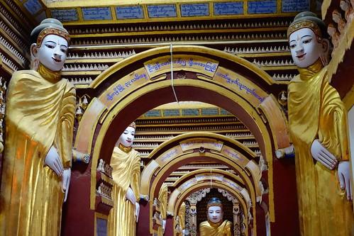 Lots of buddha's inside Thanboddhay Monywa Myanmar