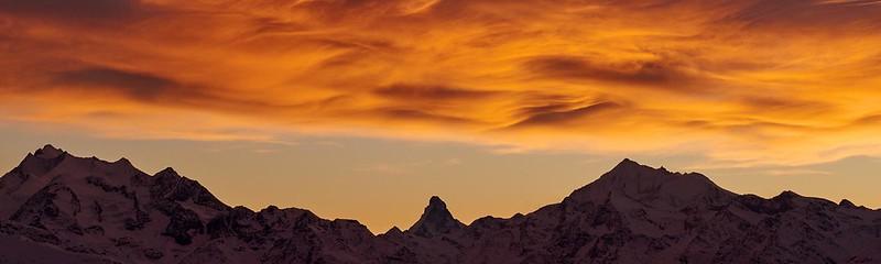 Matterhorn on fire - Riederalp