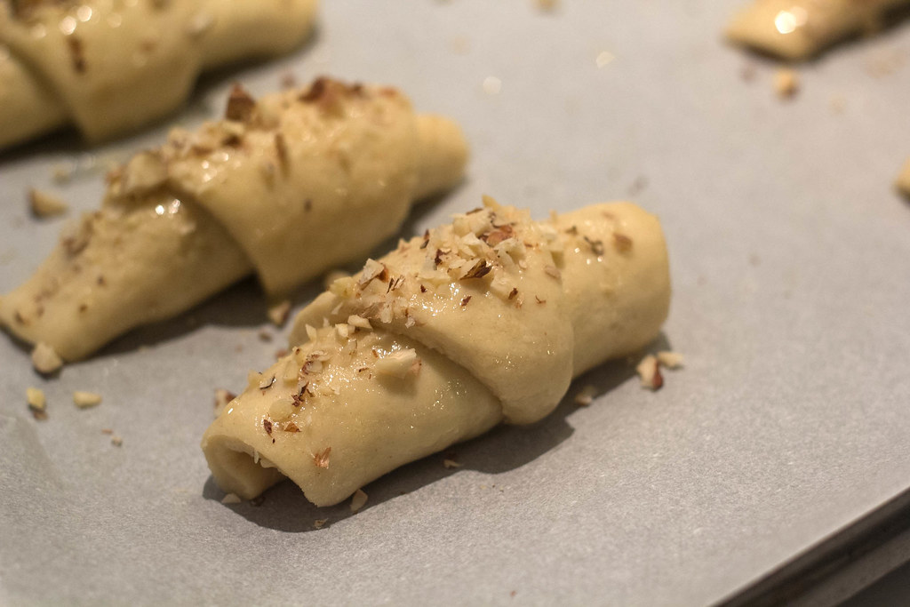 Recipe for Homemade Butterhorns with Hazelnuts