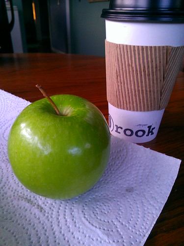 Rook coffee and an apple