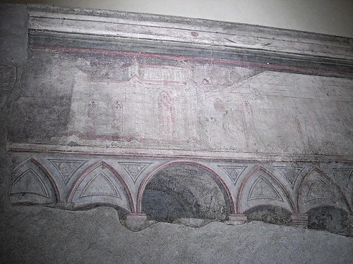 Painted architecture, reproducing the archs of this church (fresco between 1403 and 1414) by Unknown Master from Marche - Church of Incoronata in Naples