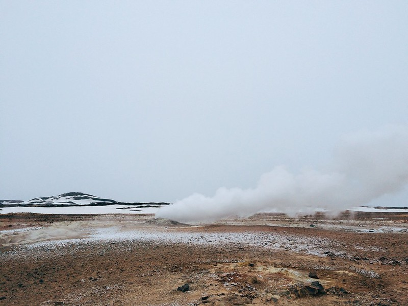 Steam rises and pools boil in the Hverir geothermal area