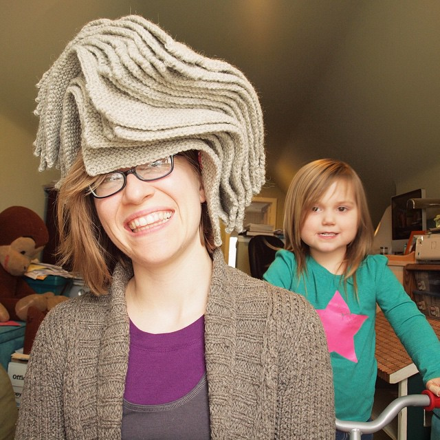 Being silly with squares while M looms over my shoulder :)