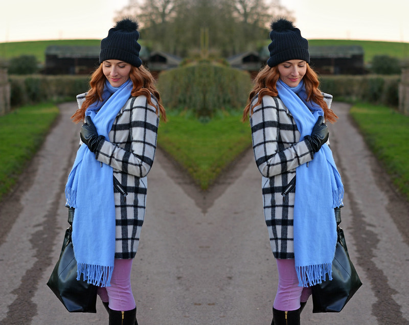 Winter style: Black and white checked coat, blue scarf, pink skinnies