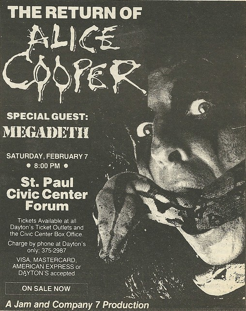 02/07/87 Alice Cooper/ Megadeth @ St. Paul Civic Center Forum, St. Paul, MN