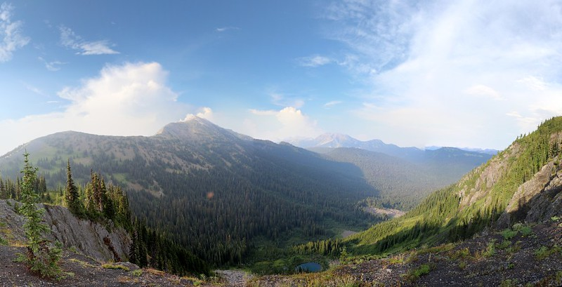 Looking back. Panorama of Peak 7514 and Shull Mtn above Lake 5644 from the Jackita Ridge Trail. Devils Pass is downhill on the left of the photo.
