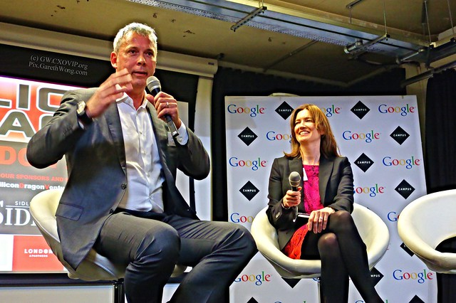 Fast talking & insightful Michael Schmidt, Chairman, Algomi Ltd. with Lisa Lambert, Founder, Red Rose London at Silicon Dragon 2015 from RAW _DSC3068