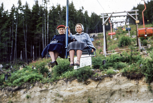 Kate and Betty Kanouse on the Grouse Mountain Chairlift in 1953
