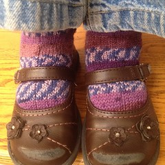 Ashlin's #feet today. #happy #knit #purple #stripes #socks