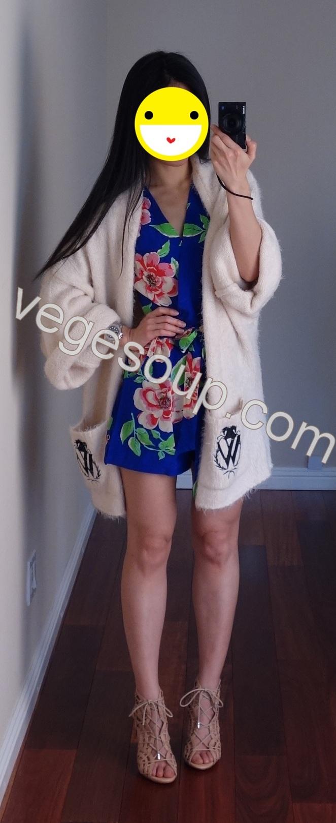 da0b4ac9ee423 白色軟毛衣外套  Wildfox Classic Logo Cardigan - Vintage Lace(XS) 連身褲裝  Yumi Kim Liz  Silk Romper - Dodger Blue Rosebud(XS其他花色點這裡)
