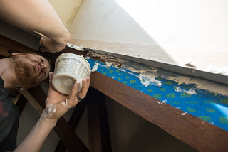 Tyler Applying Spackle to Finish Uneven Drywall Edge | by goingslowly