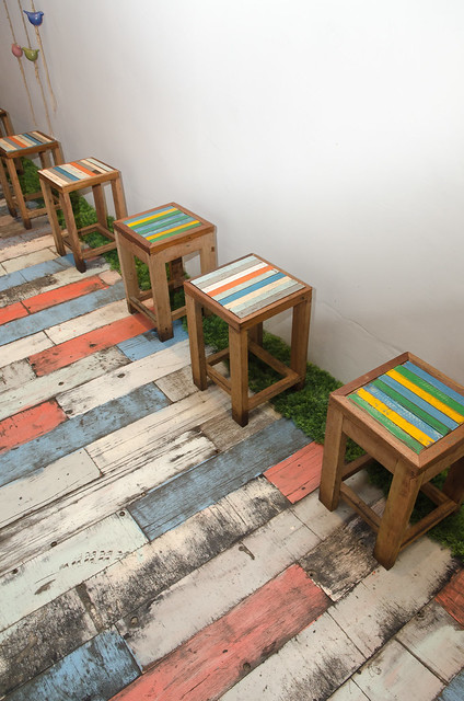 The colourful chairs at The Porki Society