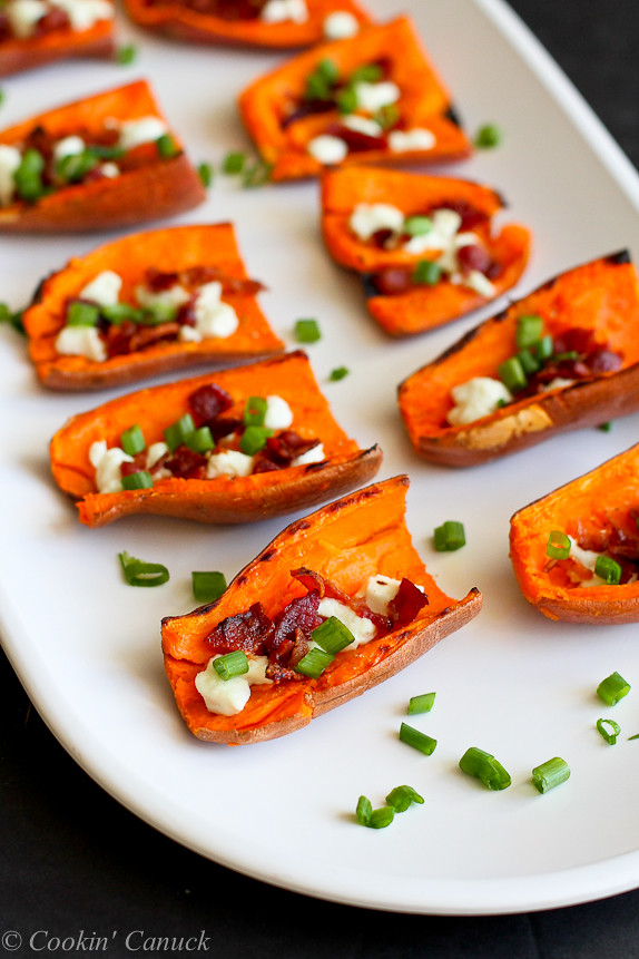 Light Sweet Potato Skins with Bacon and Goat Cheese...A healthy game ...