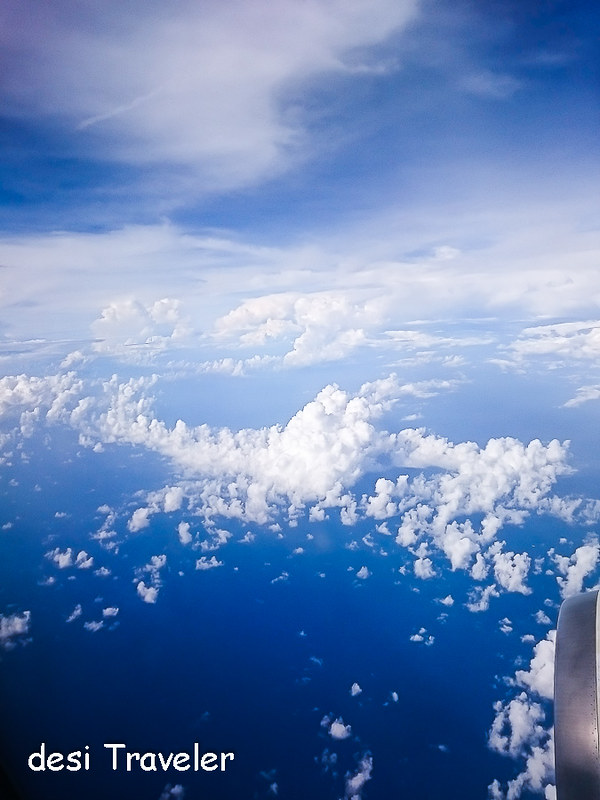Clouds seen from Jet plane over Koh samui island Thailand